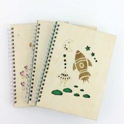 La impresión de logotipo personalizado en espiral cuaderno diario de la cubierta de madera