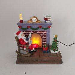 Chimenea Polyresin Navidad Musical Santa Claus con luces LED