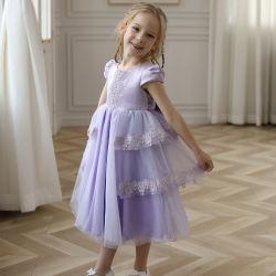 Principessa Dress della bambina del tessuto del raso di Tulle di estate per i capretti con il nodo dell'arco