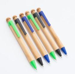 熱い販売昇進レーザーのロゴのプラスチッククリップが付いているカスタム引き込み式のタケボールペン