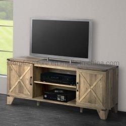 Mobiliário de escritório em casa rústica de madeira de carvalho suporte de TV a cores