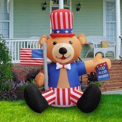 4 de julio de oso bandera Indendence inflable con decoraciones decoración de día de vacaciones