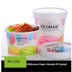 Kundenspezifisches Wegwerfeiscreme-Papiercup mit Papierkappen