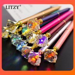 Новые Цветные светодиодные лампы крупные алмазные рекламы перо 1,0 мм вращающиеся металлические шариковой ручки Логотипа Рекламные сувениры