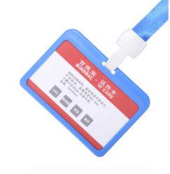 La Insignia horizontal TARJETA DE IDENTIFICACIÓN DE ABS transparente doble soporte para tarjeta azul