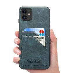IPhone 11 PRO Max бизнес подлинной кожи крупного рогатого скота сотовый телефон крышки картера с помощью слота для карты памяти (F1200)