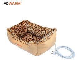 Leopard Imprimir cómoda Snuggle Pet calienta cama