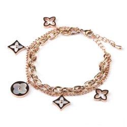2021 El diseñador de moda el trébol Four-Leaf encanto Pulsera Mujer DIY de acero inoxidable personalizado Bangle Bracelet, pulseras y brazalete de oro
