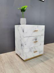 Vetro bianco di marmo 3 cassetti MDF elegante e moderno comodino