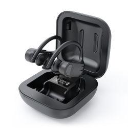 핫세일즈 - 이어훅 스포츠 방수 블루가 있는 무선 이어폰 스테레오 헤드폰 이어폰