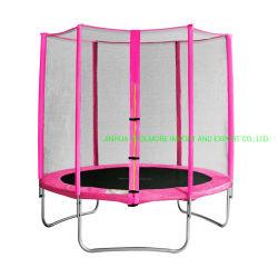 Coolmore barato 6FT/8FT trampolim redonda com o Gabinete de Segurança do Sistema de Ajuste - rosa e amarelo