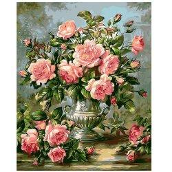Groothandel Roze Chinese Rozen DIY Oil Painting for Home Art Muur decor Handmade Diamond borduurwerk