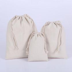 Promoción Durable Color Natural de la bolsa de cordón de algodón de lienzo de comestibles