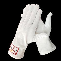 Weißes Baumwollschutzblech der Freimaurerstickerei-Handschuhe
