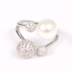 Jóias de filetes pequenos com Pearl 925 Sterling Silver jóias com diamantes Luxury Anel Aberto