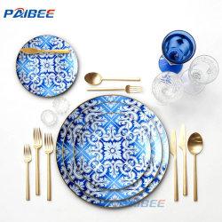 Design exclusivo de louça bone china Blue Blooms utensílios cerâmicos as configurações da placa da mesa de casamento