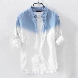 Herren Shirt Fashion Baumwolle hängende gefärbte Gradient Button Chic Shirts