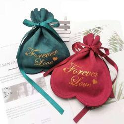 Sacchetti del velluto del Drawstring del sacchetto dell'imballaggio del regalo stampati marchio su ordinazione di lusso del sacchetto del velluto per monili