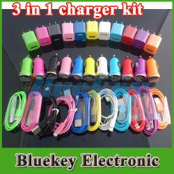 3 в 1 дорожное зарядное устройство для iPhone 5 настенное зарядное устройство автомобильное зарядное устройство USB-кабель