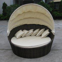 سرير أريكة خارجى ملوّن قابل للطي سرير مظلة وأثاث تنافسية من خشب الروطان السعر