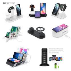 شاحن حامل الشحن اللاسلكي 4in1 لـ SmartWatch /iPhone /السيارة/USB/الهاتف المحمول 4 في 1 حامل هاتف Qi اللاسلكي المزود بالقلم W30