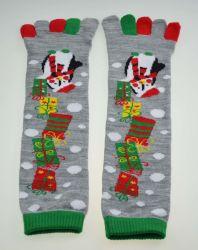 Promoção de Natal personalizados cinco dedos Jacquard Algodão meias de acrílico