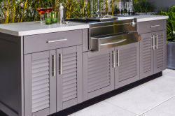 De openlucht Waterdichte Keukenkast van het Roestvrij staal met BBQ Grill