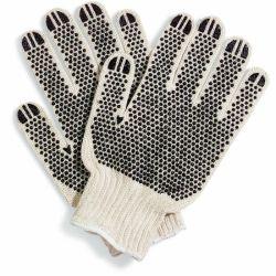 7Cor Preta do medidor de duas faces pontos PVC luvas luvas de algodão pontilhada