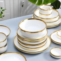Gilt Rim Wit Porselein Dinerplaatsset Keramiek bord Servies Voedingsschalen Rice Salad Noodles Bowl Mok bestek set