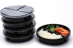 Forma redonda para armazenamento de alimentos descartáveis de plástico de caixas de almoço refeição PP comida de microondas Prep recipiente com tampa