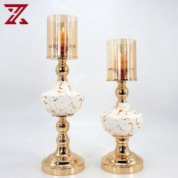 Fabbrica vendi porta candela in metallo bianco ceramica oro per matrimoni Decorazione domestica della festa