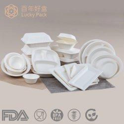 Contenedor de alimentos de caña de azúcar desechables biodegradables de bagazo de envasado de alimentos en papel