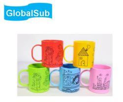 Globalsub の卸し売り注文の個人化された防爆地プラスチックポリマーの白コーヒー色 マグ
