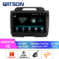 نظام فيتسون أندرويد 10 Car Multimedia System لكوليفيا 2010-2012 Sportage ذاكرة RAM سعة 4 جيجابايت شاشة فلاش كبيرة سعة 64 جيجابايت في مشغل أقراص DVD للسيارة