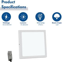 مصباح LED للسقف مُثبَّت بسطح الطريق قابل للتحديد 3CCT بقدرة 6 واط مصباح LED للإضاءة الداخلية المُثبَّت بالسقف على السطح المربع