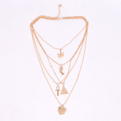 Jóias de Ouro de multicamada mulheres amaldiçoada colar com coração pendente manual