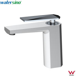 Populäres Wasserzeichen-Weiß und Chrom-Badezimmer-Eitelkeits-Bassin-Mischer-Hahn