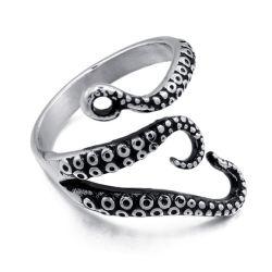 Anello dei piedi del calamaro del polipo dell'acciaio inossidabile del Mens di disegno di Hiphop