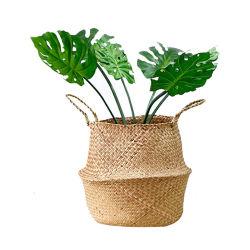 Renel plegable personalizado tejidos artesanales de hierba de mar natural cestas de almacenamiento de regalo de la decoración del hogar el vientre de la planta de algas Maceta florero Cesta de flores