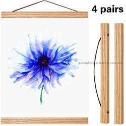 4 PCS Cartel magnética percha armazón de madera bricolaje colgador de la obra de arte de la foto foto Arte