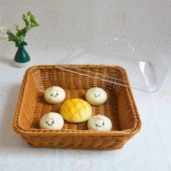 Wholsale alimentos seguros de ratán cestas de plástico para almacenamiento de frutas y postres