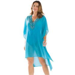 Rhinestone V COU PURE Kimono Robe de plage couvrir jusqu'
