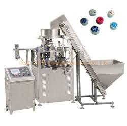 Vollautomatische Schutzkappen-Kennsatz-Ausschnitt-und Dichtungs-Maschine der 5 Gallonen-Wasser-Flaschenkapsel