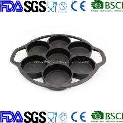 7pcs Preseasoned Molde de pastel de hierro fundido de la fábrica China