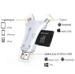 3 en 1 USB 2.0 Tipo de OTG-C Lector de tarjetas de memoria TF OTG Adaptador de lector de tarjetas SD Card Reader para iPhone Android
