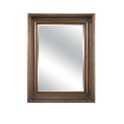 고풍스러운 전통 목재로 액자에 화려한 거울이 있습니다