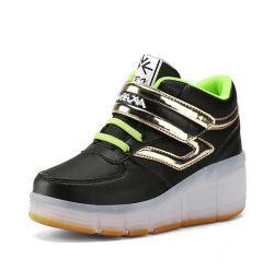 子供の大人の引き込み式のローラースケートのためのフラッシュライトが付いているヨーロッパの外国貿易LEDのローラーの靴のスケートのスニーカーをエクスポートしなさい