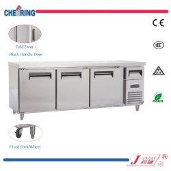 Approbation ce commercial acier inoxydable Table de travail réfrigérateur congélateur