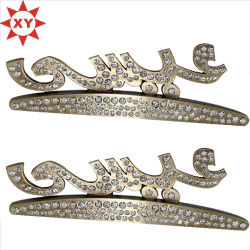 Dos de plata personalizada alfiler de metal Cristal Badge