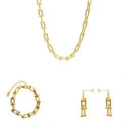 Новая конструкция U форма украшения ожерелье браслет серьги из нержавеющей стали ювелирные изделия (сталь/Gold/Rosegold цвет)